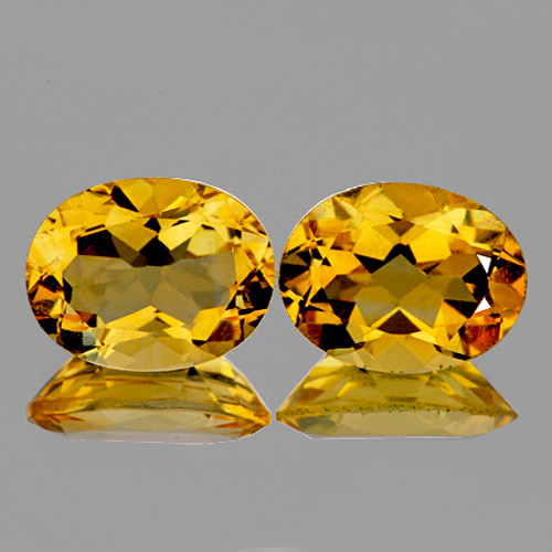 10x8 mm Oval 2 pcs 4.40cts Golden Yellow Citrine [VVS]