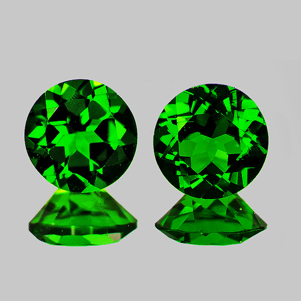 4.00 mm Round 2 pcs Chrome Green Diopside [VVS]