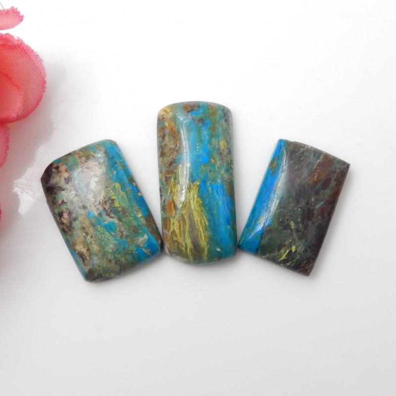 32.5cts 3pcs Blue Opal Cabochon,Healing Stone,Wholesale Jewelry F655