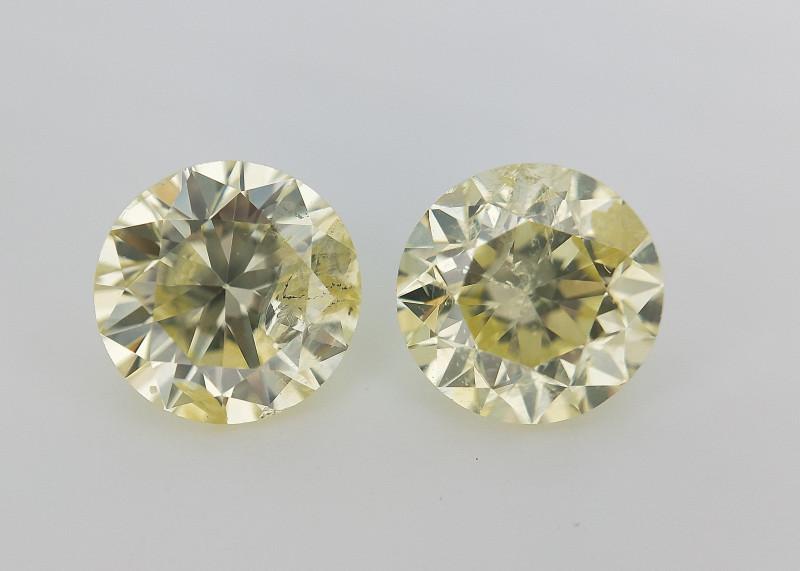 RARE Fancy Round Diamond Pair , Light Yellow Diamond , 1 carat Diamond , 1.