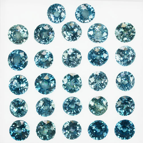 34.15Ct  Beautiful Blue Zircon  6 mm Round Parcel