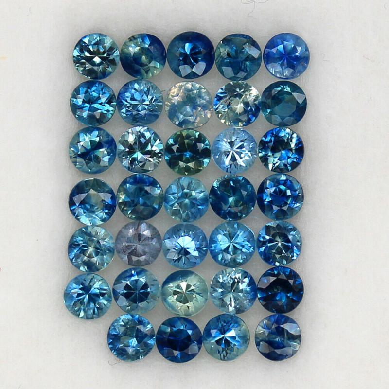 4.02 ct. 2.9 MM. DIAMOND CUT MULTI COLOR SAPPHIRE NATURAL GEMSTONE 34PCS.