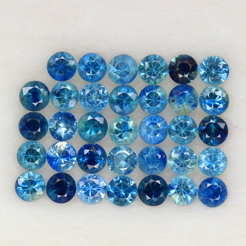 4.07 ct. 2.9 MM. DIAMOND CUT BLUE SAPPHIRE NATURAL GEMSTONE 34PCS.
