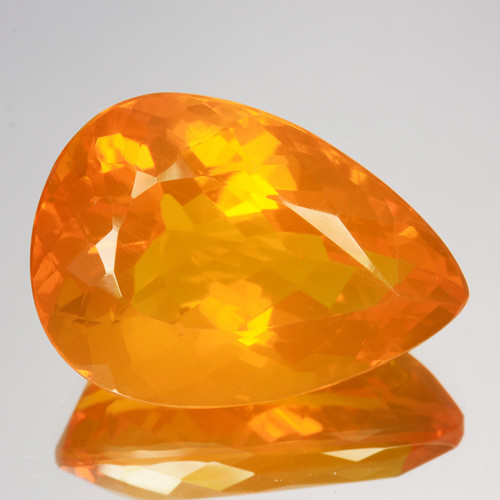 13.20 Cts Natural Top Orange Fire Opal Pear Faceted Mexico Gem