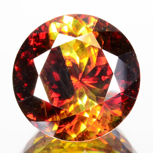 8.45 Cts Natural Fire Sunset Yellow Sphalerite Round Cut Spain Gem