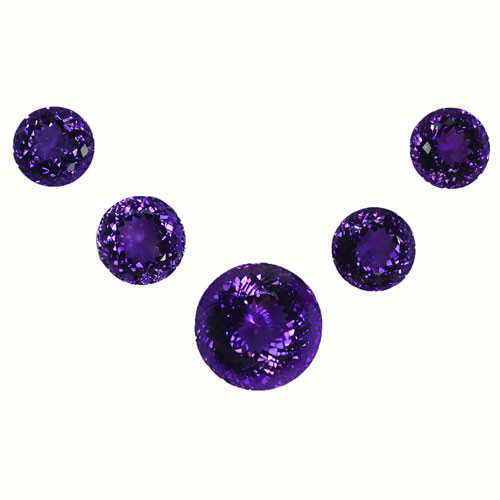 121.00Natural Amethyst Round Brilliant cut Calibrated Parcel