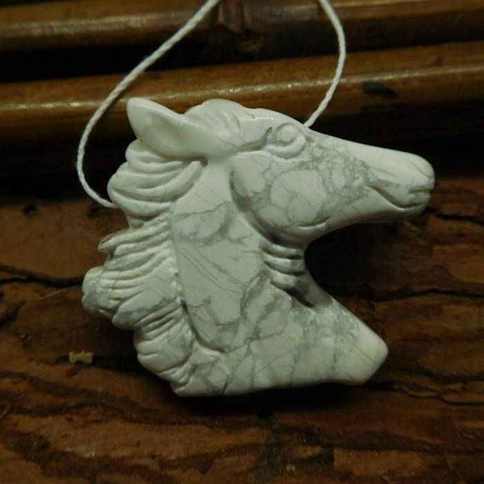 Natural gemstone howlite horse head pendant (G1852)