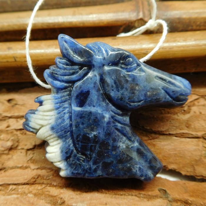 African sodalite horse head pendant (G1855)