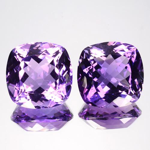 26.85 Cts Natural Purple Amethyst Cushion PAIR Brazil Gem