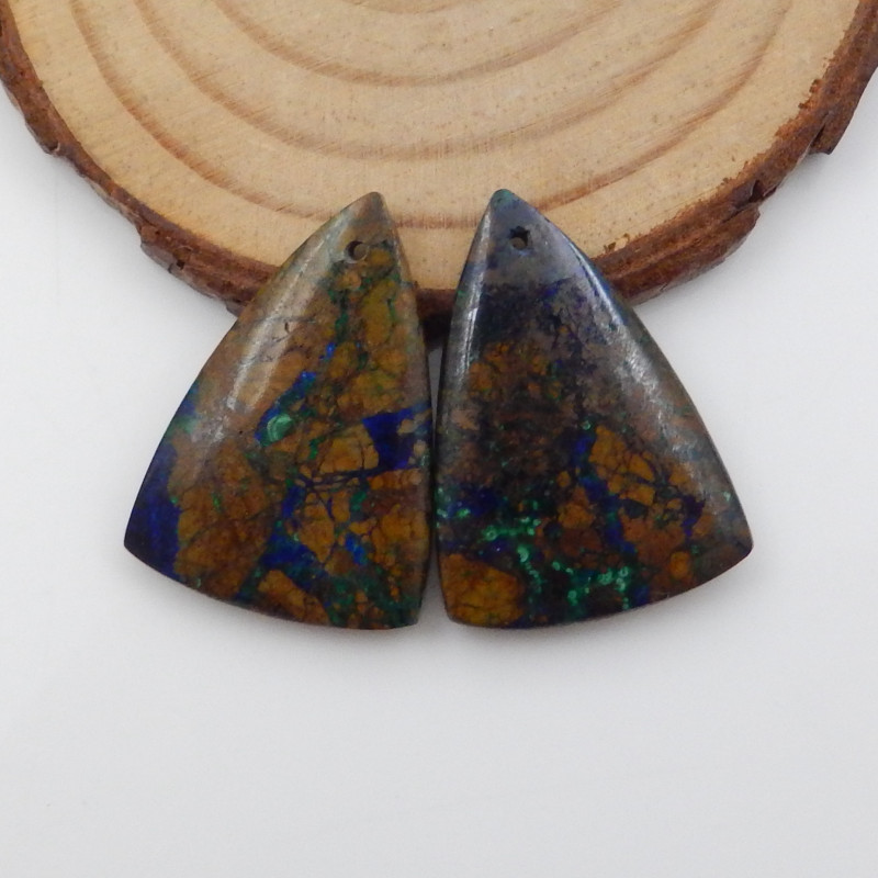 48cts cts Chrysocolla earrings ,triangle earrings ,Designer Making F736