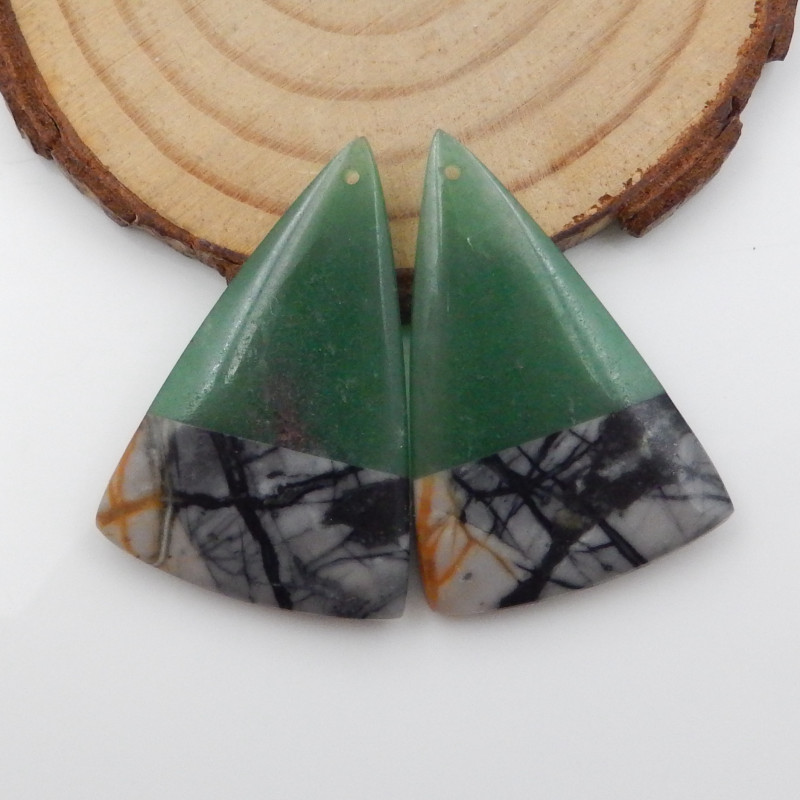 55.5cts African Jade,picasso jasper intarsia earring pair F745