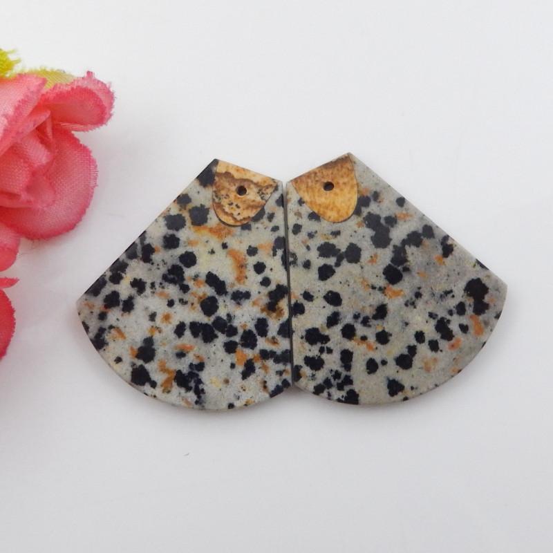 50cts Dalmatian Jasper,picture jasper intarsia earring pair F723