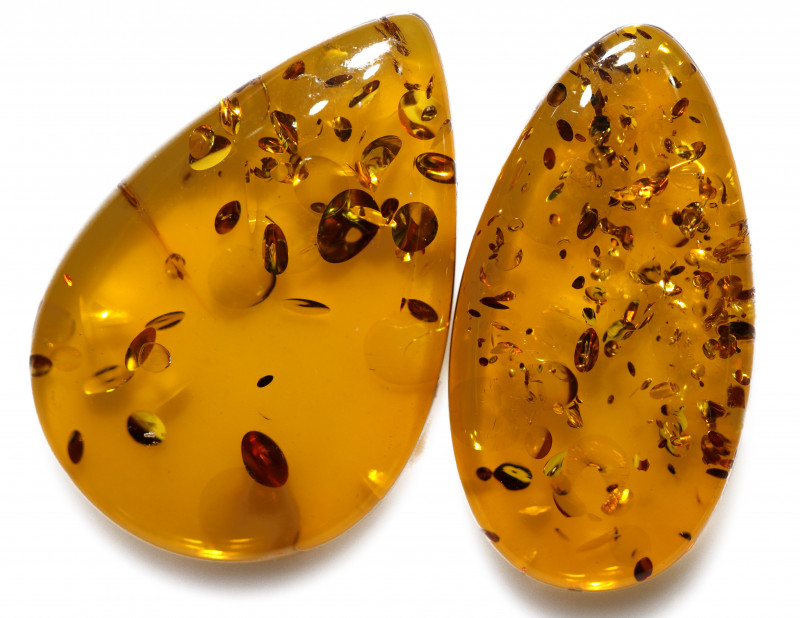 23 Cts Pair Honey  Yellow Amber Gemstones    AM 1694