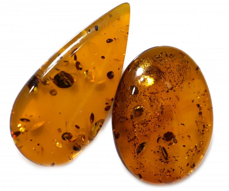 25 Cts Pair Honey  Yellow Amber Gemstones    AM 1695