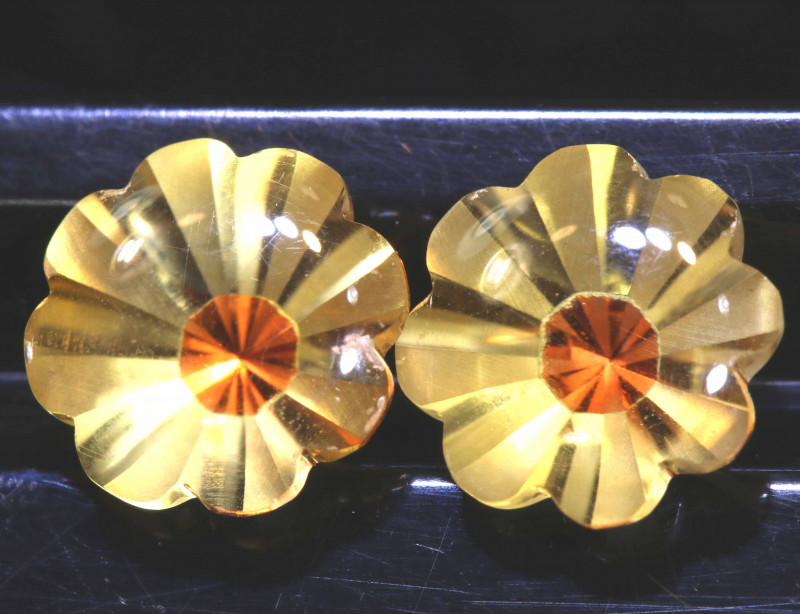 3.35  CTS -CITRINE FLOWER CARVING  PAIR LG-9