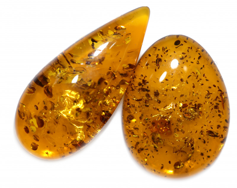 17 Cts Pair  Honey  Yellow Amber Gemstones    AM 1699