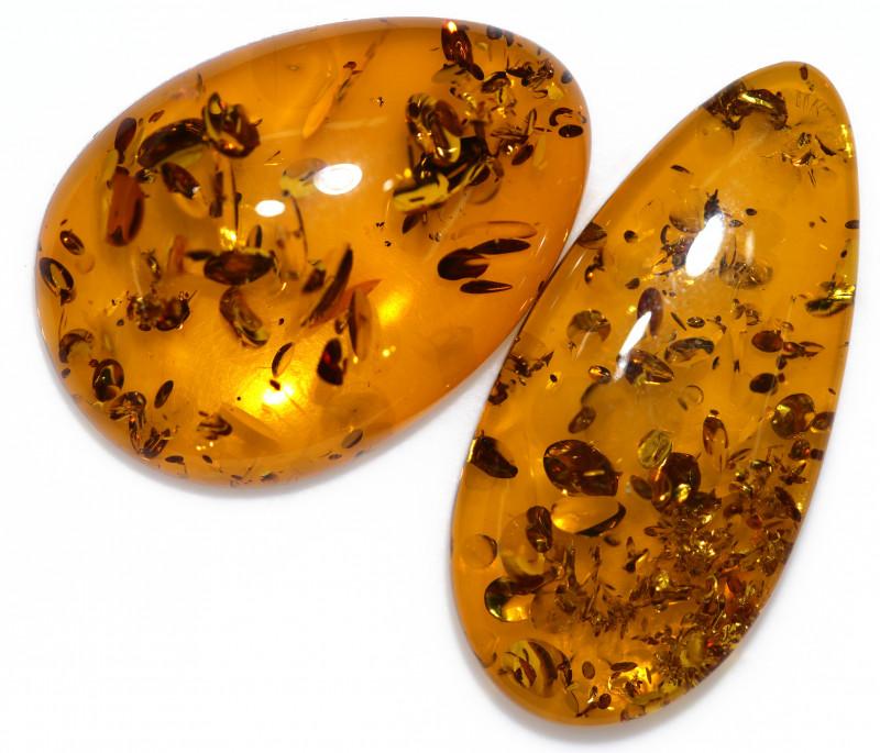 25 Cts Pair  Honey  Yellow Amber Gemstones    AM 1701