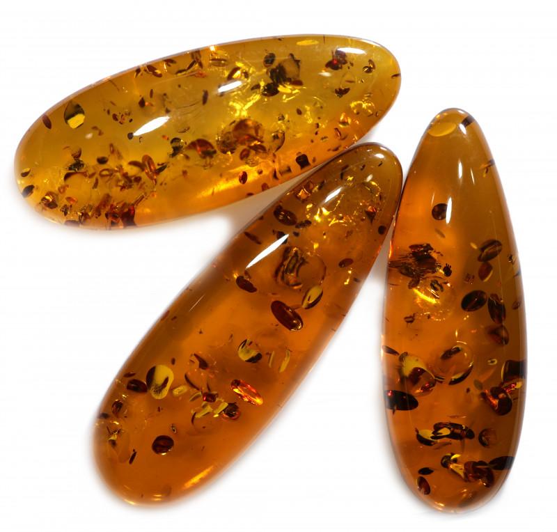 33 Cts Parcel 3  Honey  Yellow Amber Gemstones    AM 1705