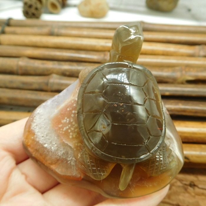 Geode Agate Carved Gemstone Decoration Turtle (D101)