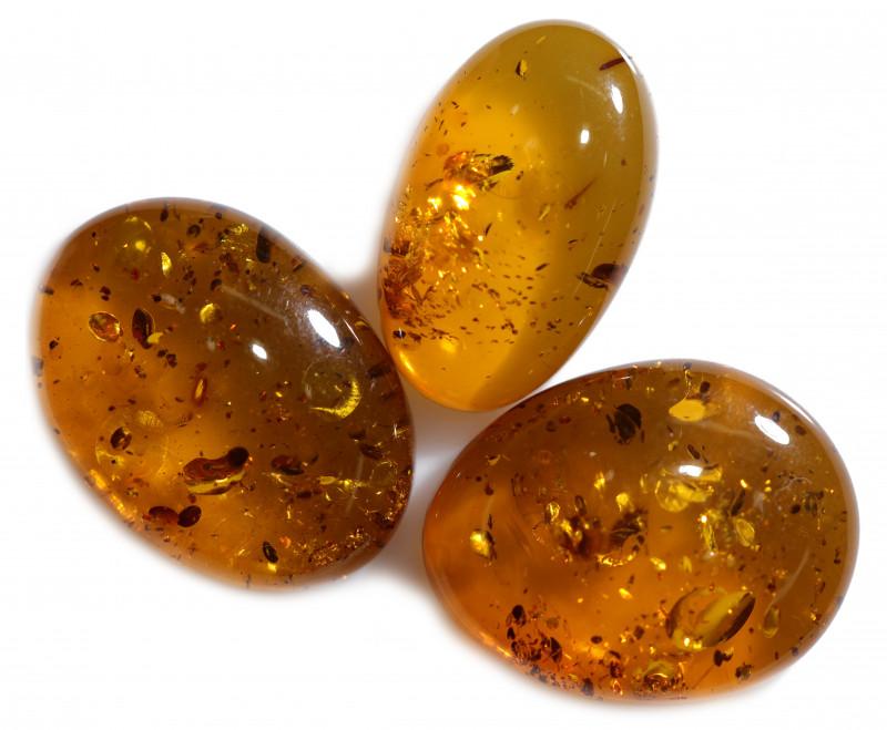 28 Cts Parcel 3  Honey  Yellow Amber Gemstones    AM 1710