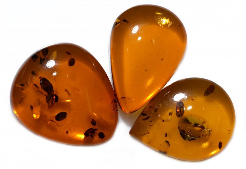 33 Cts Parcel 3  Honey  Yellow Amber Gemstones    AM 1712