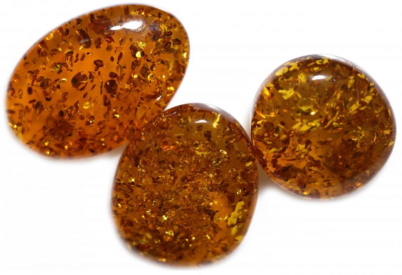 38 Cts Parcel 3  Honey  Yellow Amber Gemstones    AM 1715