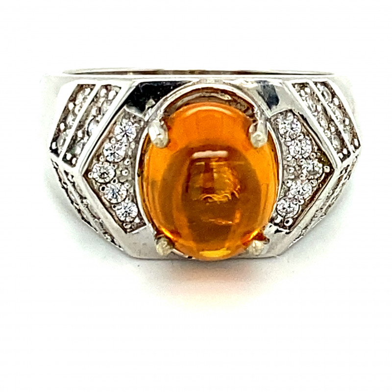 Citrine 4.60ct Platinum Finish Solid 925 Sterling Silver Ring     Size 10