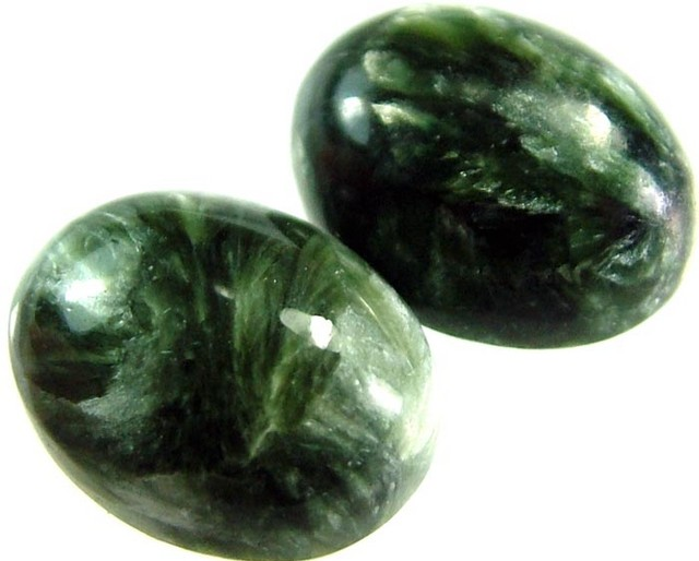 SERAPHINITE PAIR- LEAFY PATTERN 19 CTS [ST3963 ]