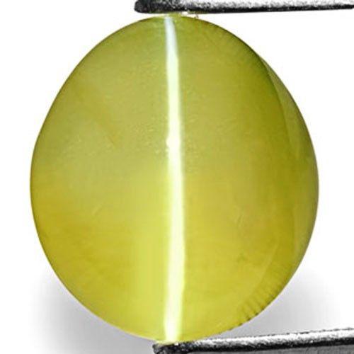 Madagascar Chrysoberyl Cat's Eye, 6.21 Carats, Intense Greenish Yellow Oval
