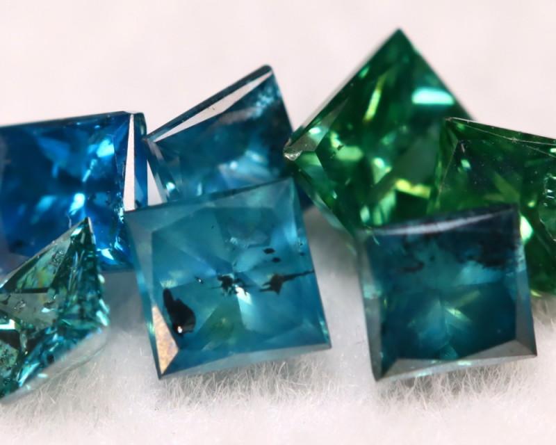 Blue Diamond 0.70Ct Mixed Size Princess Natural Blue Green Diamond B1221