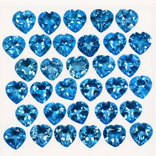 44.92Cts Natural Baby Blue Topaz 7mm Heart Calibrated Parcel