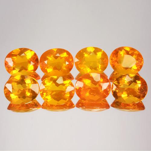 ~SET~ 27.60 Cts Natural Mexican Orange Fire Opal 12x10mm Oval 8Pcs