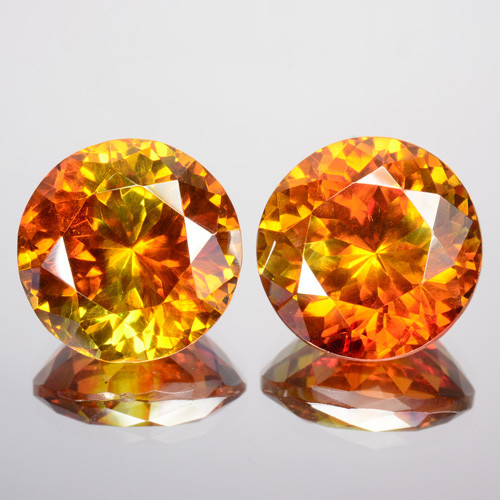 ~PAIR~ 18.82 Cts Natural Sphalerite Sunset Orange 12mm Round Cut 2Pcs Spain