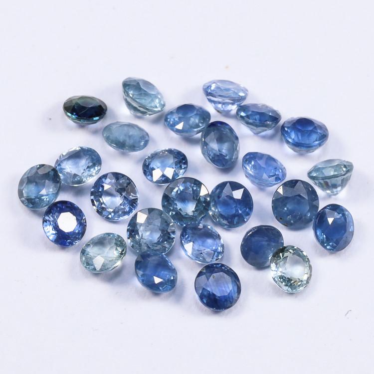 5.03tcw Natural Blue 3.3mm Round Ceylon Sapphire Parcel