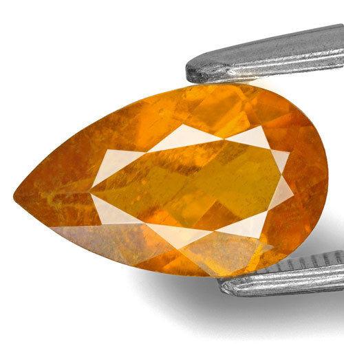 Tajikistan Clinohumite, 1.83 Carats, Deep Yellow Orange Pear
