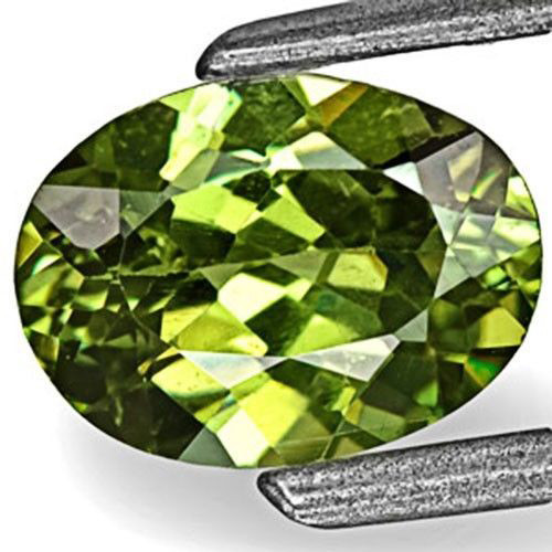 Namibia Demantoid Garnet, 0.83 Carats, Deep Yellow Green Oval
