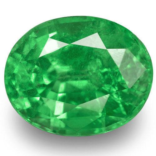 Kenya Tsavorite Garnet, 0.89 Carats, Bright Green Oval