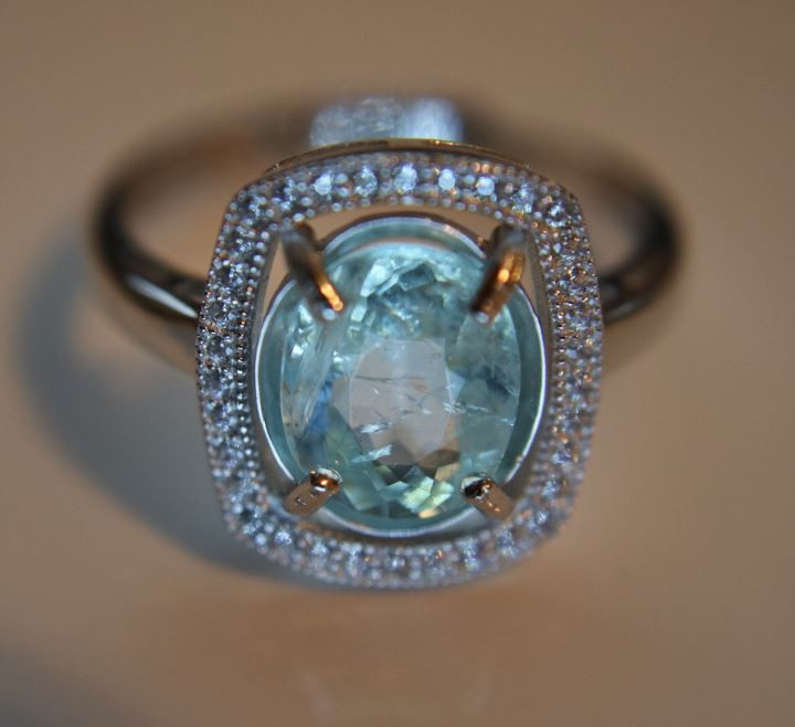 Paraiba Tourmaline 2.35ct White Gold Finish Solid 925 Sterling Silver Ring