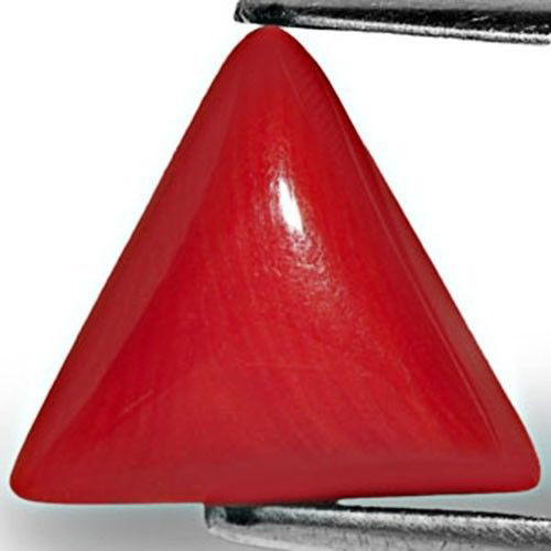 Italy Coral, 4.65 Carats, Intense Orangy Red Triangular