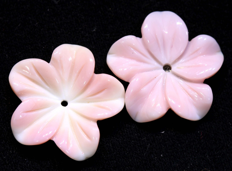 10.05 CTS CONCH SHELL FLOWER PAIR DRILLED LT-414