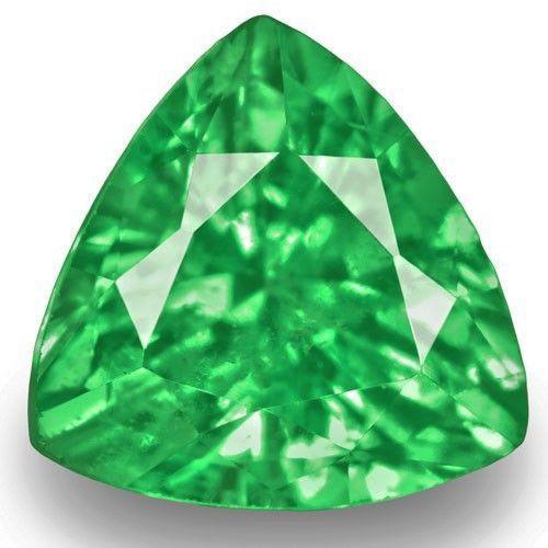 Kenya Tsavorite Garnet, 0.91 Carats, Fiery Vivid Green Trilliant