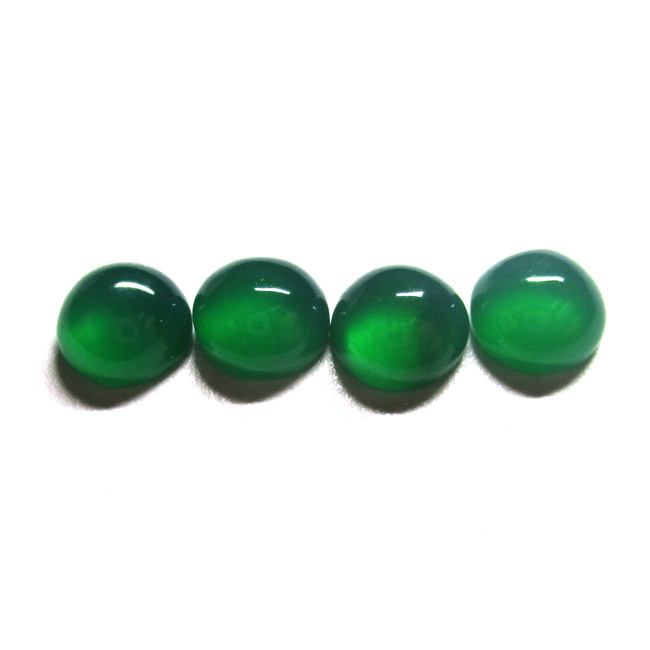 5.76tcw Green Chalcedony Matching Four Round Cabochons
