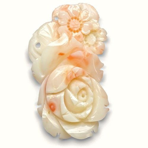 Japan Coral, 34.46 Carats, White Fancy Carving