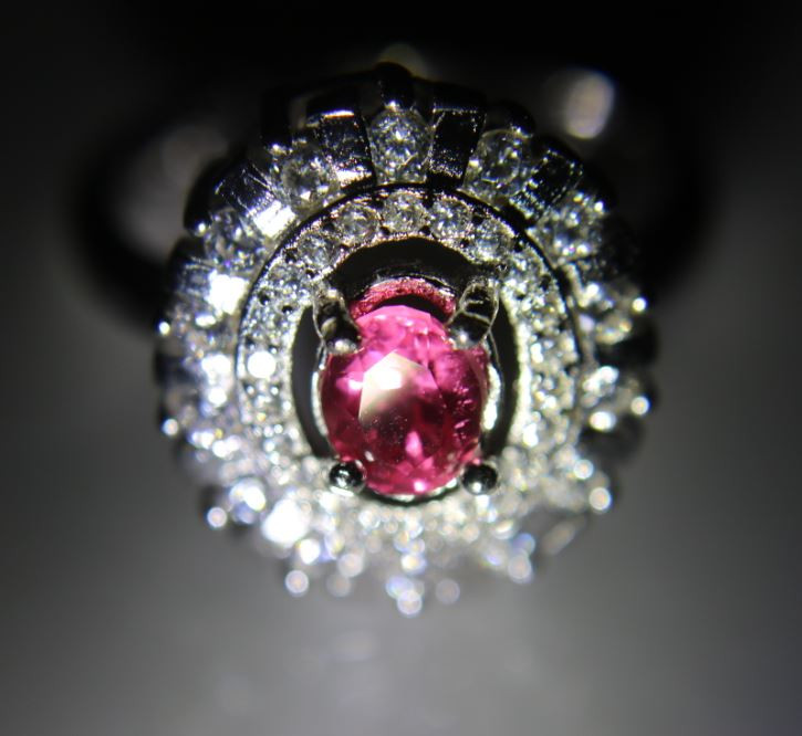 Red Mahenge Spinel .70ct White Gold Finish Solid 925 Sterling Silver Ring