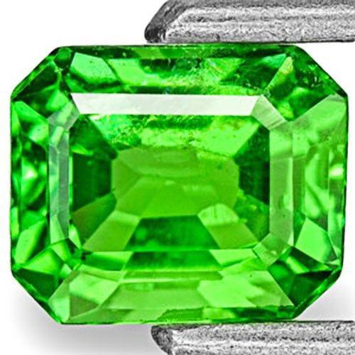 Kenya Tsavorite Garnet, 0.69 Carats, Vivid Neon Green Emerald Cut
