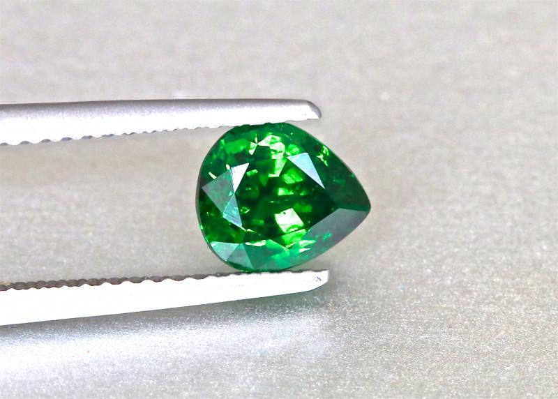 Vivid Chrome Green Tsavorite Garnet - 1.37ct - Pear - Shiny Gem