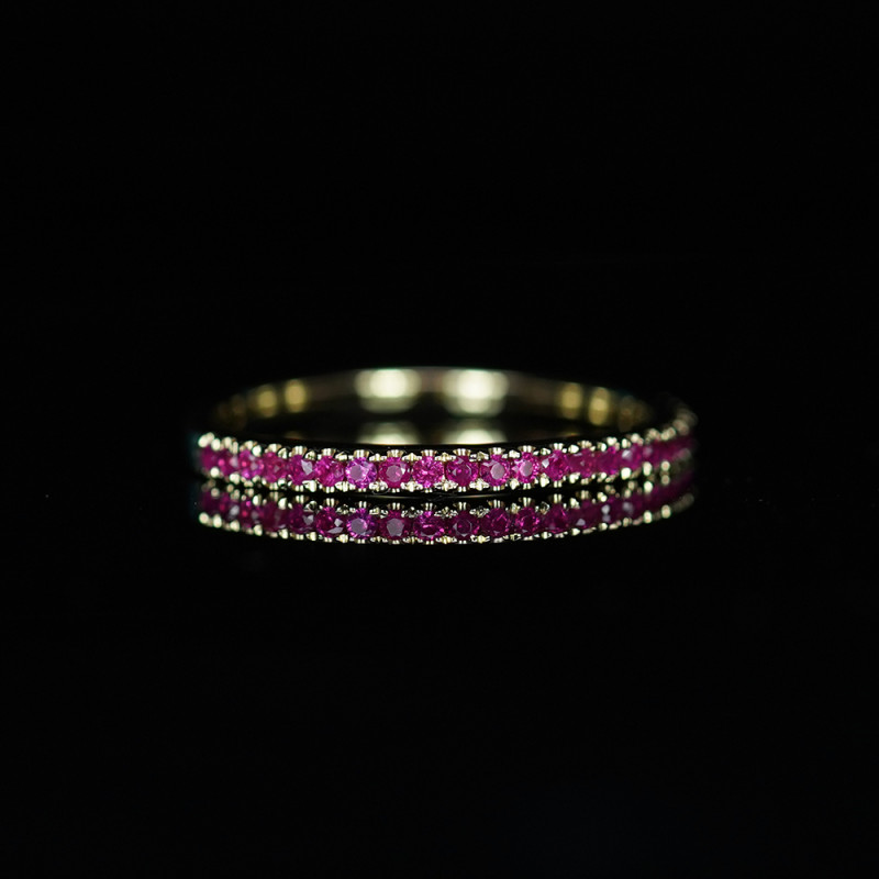 INTENSE NEON RED RUBY RING in HANDCRAFTED 14K GOLD