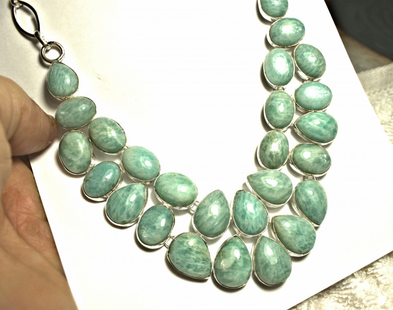 Natural African Amazonite Sterling Silver Necklace - Gorgeous