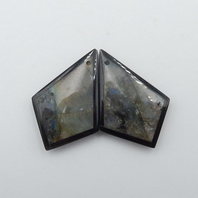 31.5cts Labradorite,Obsidian Intarsia Earring,Healing Stone G49