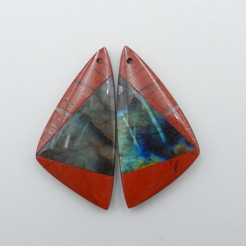 40cts Natural Red River Jasper,labradorite intarsia earrings,healing stone